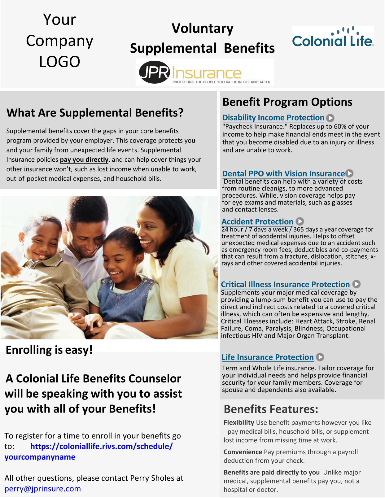 Colonial Life Benefits Flier with Video Links2